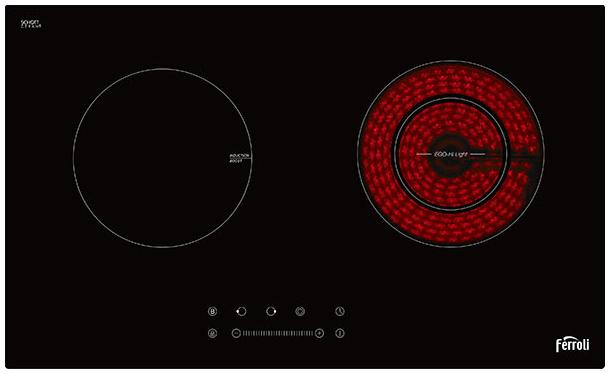 Mặt bếp Ferroli được làm từ loại kính  Schott Ceran