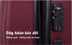 vali nhựa giảm giá Briona-AD1747 có thiết kế hệ thống kéo đôi và 8 bánh xe