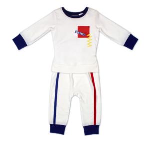 quần áo thể thao trẻ sơ sinh oeteo có màu trắng sọc đen