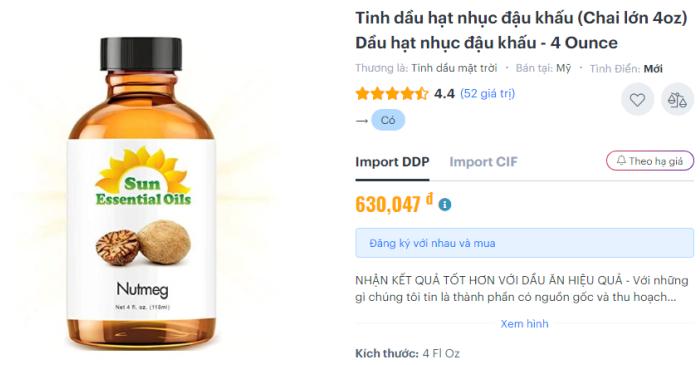 Tinh dầu nhục đậu khấu Nutmeg Essential Oil