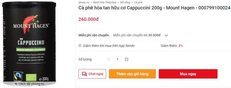 Cà phê hòa tan hữu cơ Cappuccini 200g - Mount Hagen