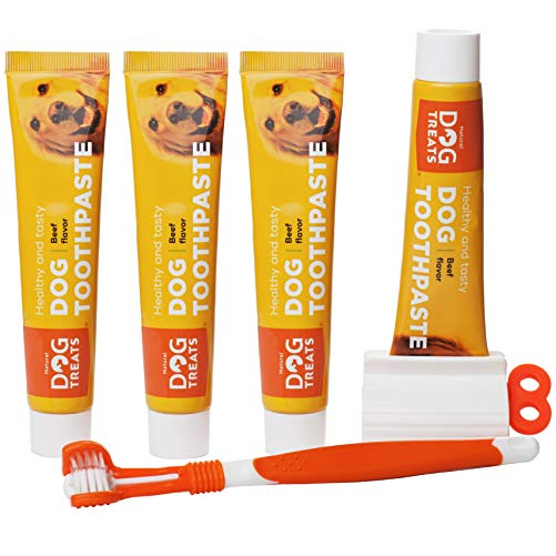 Natural Dog Treats Toothbrush and 4x Toothpaste Kit For Dogs - Tiện lợi